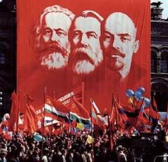 rally with flags and enormous marx, engels & lenin banner