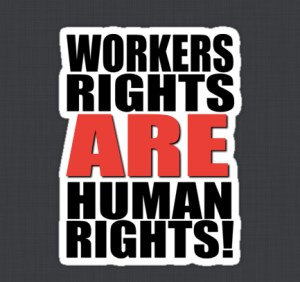 Workers Rights are Human Rights, image by riotgear, tee shirt at redbubble.com