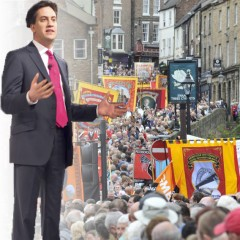 Ed Miliband with Durham Miners Gala in background