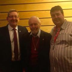 Tony Benn with Len McCluskey and Tony Woodhouse Unite EC Dec 2014