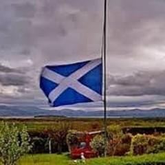 scotish flag at half mast