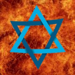 Star of David against background of fire