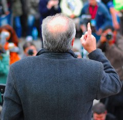 George Galloway at Stop The War protest in London, 24 Feb 2007. George Galloway. Scenes from Trafalgar Square, photo by David Martyn Hunt CC BY 2.0