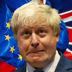 Boris Johnson with EU & UK Flags