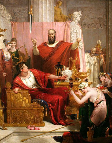 The painting by Richard Westaill called the Sword of Damocles. it illustrates a famous story told by Cicero about a young man who was motivated by riches and power.