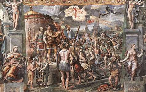 The Vision of the Cross by Giulio Romano. This paint represents the vision of Contantine the Great prior to a battle. It is said that he had a dream or a vision that told him to put the sign of the cross on the shields of his army.