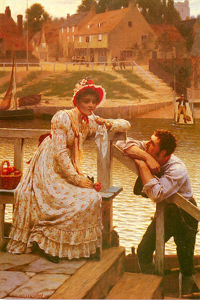 Edmund Leighton (1853–1922) Courtship. Upward and downward communication often has an associated difference in status symbolized here as difference between a worker (the ferryman) and the lady.