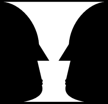 Optical illusion, faces and vase