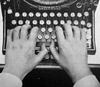 A keyboard on a typewriter. Notice that the position of the keys has not changed.