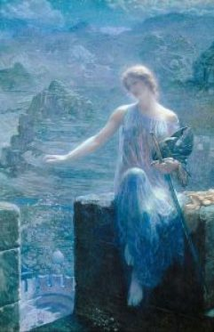 The Valkyrie's Vigil, by Edward Robert Hughes. A symbol of MASTERY, the Valkyrie would meet only the bravest of warriors who had performed well in field of battle.
