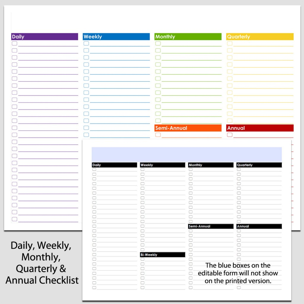 Daily Weekly To Annual Checklist In Landscape