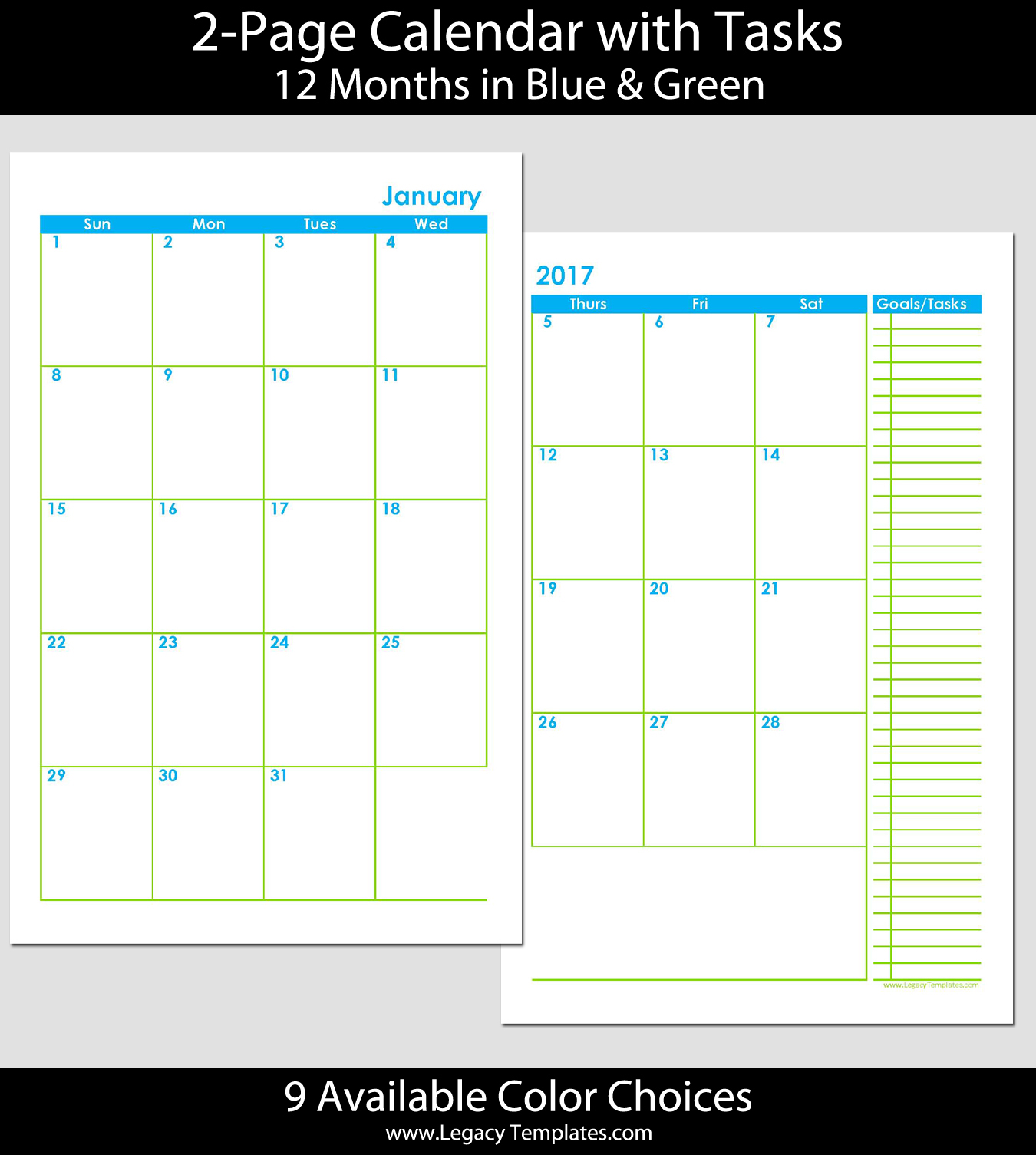 2 Page Monthly Calendar Template 2015. 2 Page Monthly Calendar Printable  2016 Calendar Template 2018 .