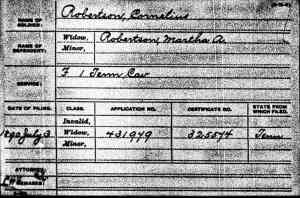 Civil War pension file index card for Cornelius Robertson from Ancestry.com.