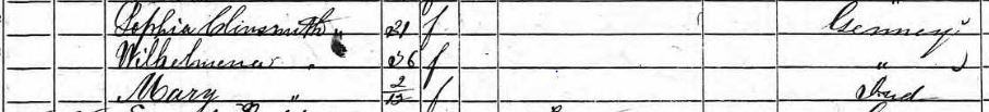 The Kleinschmidt women on the 1850 U.S. Census.