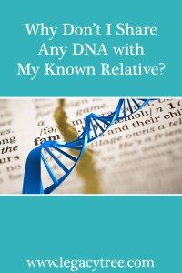 why don't I share any dna with my known relative