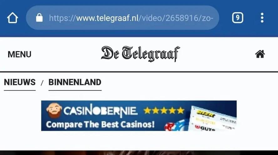 Telegraaf.nl toont zelf ook reclame gokgerelateerde websites