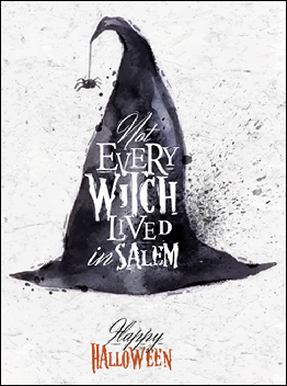 Witch hat halloween poster vintage