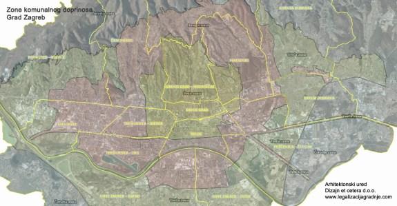Zone komunalnog doprinosa Zagreb