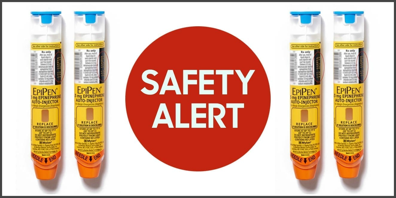 hight resolution of image of four epipens with safety alert written on a red
