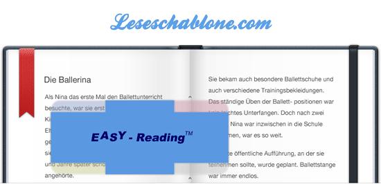 EASY READING Leseschablone