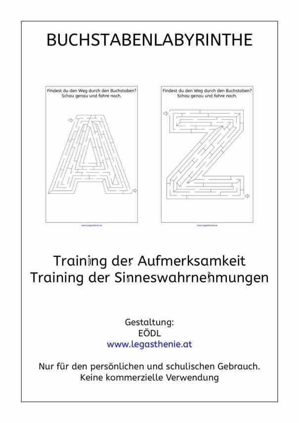 Buchstabenlabyrinthe, Wahrnehmung, AFS-Methode, AFS-Training, Legasthenie, Legastheniematerial, Buchstaben, Labyrinth, Aufmerksamkeit, Feinmotorik, räumliche Wahrnehmung, optische Wahrnehmung
