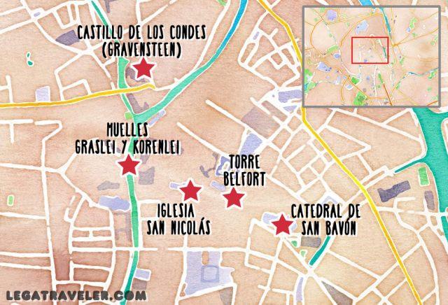 mapa gante turistico belgica