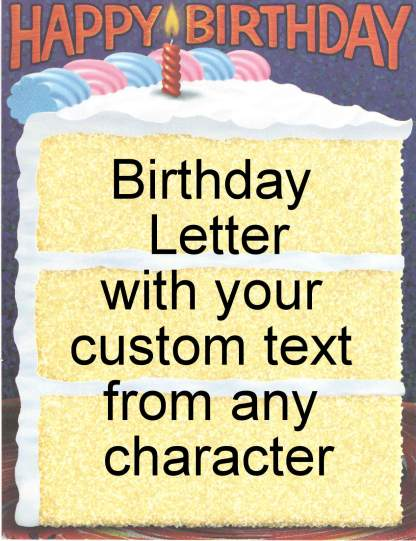Request a personalized birthday letter from your favorite character from your favorite fandom