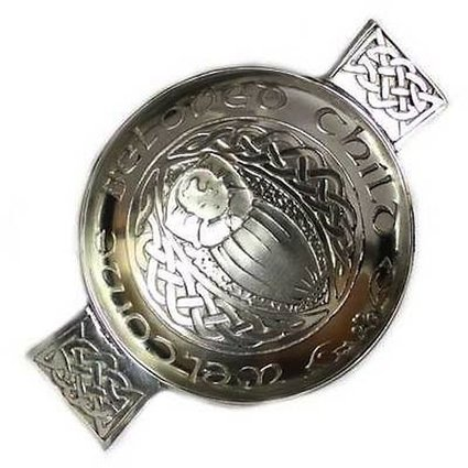 Scottish Pewter Celtic Toasting Quaich