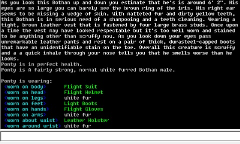 A screenshot of a male Bothan's description.