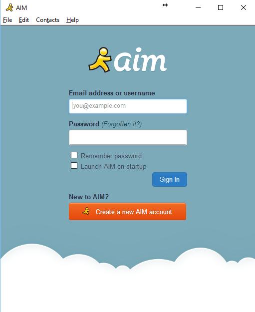 A screenshot of the AIM login screen.