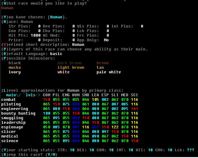 A screenshot of the Human racial table.