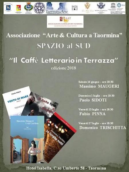 """LOC.-GEN.-ESTATE-2018-Copia-def-1 Con """"Caffè Letterario in…Terrazza"""" Taormina torna a parlare di libri! News Libri"""