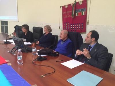 Un momento dell'incontro, organizzato a Catania da Anpi e Cgil, su Ravensbrück