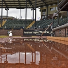 After a rain storm water stands in the infield of Veterans Field at Keeter Stadium, Friday, August 11, 2017 in Shelby, N.C.. Photo by Matt Roth/The American Legion.