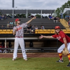 Cousins Cody Freed and Zach Schirner of Midland Mich., Post 165 pose for a portrait before facing off against Omaha, Neb., Post 1 during game 5 of The American Legion World Series on Friday, August 11, 2017 in Shelby, N.C.. Photo by Matt Roth/The American Legion.