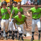 Jake East of Bryant, Ark., Post 298, center, yells as teammate Seth Tucker heads towards home plate after hitting the third home run of game 7 during The American Legion World Series on Saturday, August 12, 2017 in Shelby, N.C.. Photo by Lucas Carter/The American Legion.