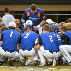 Omaha, Neb., Post 1 huddles up before game 5 of The American Legion World Series on Friday, August 11, 2017 in Shelby, N.C.. Photo by Matt Roth/The American Legion.
