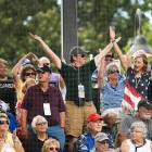 """Fans dance to """"YMCA"""" as Randolph County, N.C., Post 45 squares off against Lewiston, Idaho, Post 13 in game 8 of The American Legion World Series on Saturday, August 12, 2017 at Veterans Field at Keeter Stadium in Shelby, N.C. Photo by Matt Roth/The American Legion."""