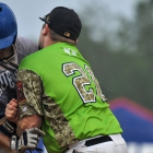 Garrett Giles of Henderson, Nev., Post 40 collides with first baseman Brandon Hoover of Bryant, Ark., Post 298 during game 13 of The American Legion World Series on Monday, August 14, 2017 in Shelby, N.C.. Giles was safe at first and the umpire ordered both baserunners to advance one base. Photo by Matt Roth/The American Legion.