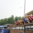 Gehrig Timmons of Henderson, Nev., Post 40 throws warm up balls to fans during their game against Bryant, Ark., Post 298, game 13 of The American Legion World Series on Monday, August 14, 2017 in Shelby, N.C.. Photo by Matt Roth/The American Legion.