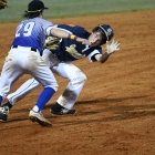 Ryne Nelson of Henderson, Nev., Post 40 tags out Thomas Cue of Shrewsbury, Mass., Post 397 between second and third during game 6 of The American Legion World Series on Friday, August 11, 2017 in Shelby, N.C.. Photo by Matt Roth/The American Legion.