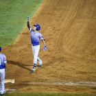 John Howard Bobo of Henderson, Nev., Post 40 celebrates a base hit against Shrewsbury, Mass., Post 397 during game 6 of The American Legion World Series on Friday, August 11, 2017 in Shelby, N.C.. Photo by Matt Roth/The American Legion.