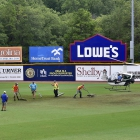 Dr. Stephen Jones helped the grounds crew dry off the Veterans Field outfield with his helicopter  Tuesday, August 15, 2017 in Shelby, N.C.. A massive storm delated game 14 of The American Legion World Series between Randolph County, N.C., Post 45 and Omaha, Neb., Post 1 Monday evening. Photo by Matt Roth/The American Legion.