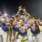 Henderson, Nev., Post 40 celebrates after defeating Shrewsbury, Mass., Post 397 1-0 in game 6 of The American Legion World Series on Friday, August 11, 2017 in Shelby, N.C.. Photo by Matt Roth/The American Legion.