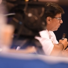 A judge makes notes to the contestants as the 2017 American Legion Color Guard Contest is held on Friday, August 18, 2017 at Reno-Sparks Convention Center in Reno, Nev. Photo by Lucas Carter/The American Legion.