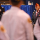 American Legion National Commander Charles E. Schmidt speaks to the competitors at the conclusion of the 2017 American Legion Color Guard Contest, held on Friday, August 18, 2017 at Reno-Sparks Convention Center in Reno, Nev. Photo by Lucas Carter/The American Legion.