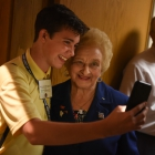 Maximino Manzanares of Santa Fe, N.M. takes a photo with Holocaust survivor Nesse Godin after she spoke to the American Legion Boys Nation delegates on Thursday, July 27, 2017. Photo by Lucas Carter / The American Legion.