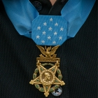 James C. McCloughan's wears his Medal of Honor during a memorial dedication ceremony at The American Legion Edward W. Thompson Post 49 in South Haven, Mich. Photo by Robert Franklin/The American Legion