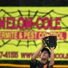 Idaho right fielder Ryder Shoults catches a fly ball as Idaho faces off against Arkansas during game 3 of The American Legion World Series on Thursday, August 10, 2017 in Shelby, N.C.. Photo by Matt Roth/The American Legion.