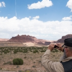 Larry Solarczyk takes a photograph of the Black Dragon Canyon in Utah on Monday, August 14, 2017. Photo by Clay Lomneth / The American Legion.